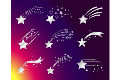 White stars or falling comets icons