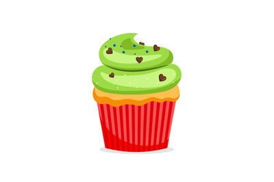 Sweet cupcake with green frosting