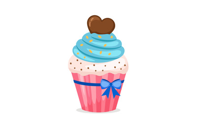 Sweet cupcake with blue frosting