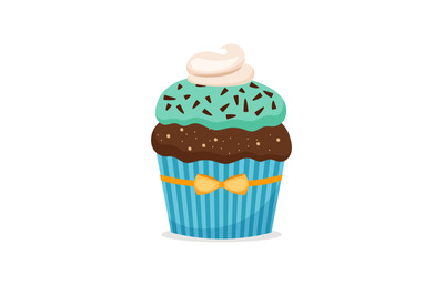 Brownie cupcake with blue frosting