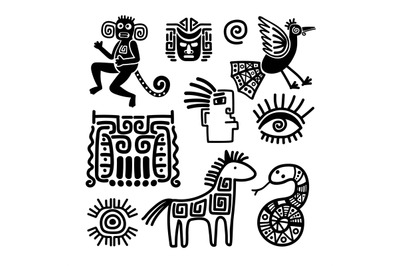 Mexican tribal black line symbols