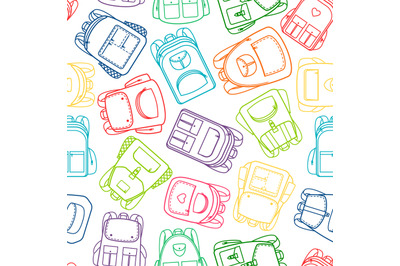School pattern with colorful outline backpacks