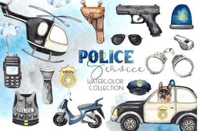 Police. Watercolor collection