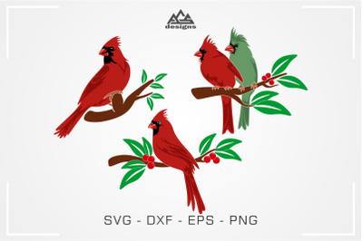 Cardinal Bird Pack Svg Design