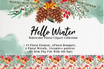hello winter watercolor floral collection
