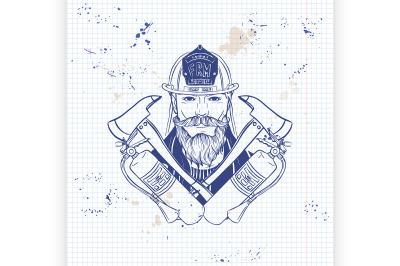 Hand drawn sketch fireman icon2