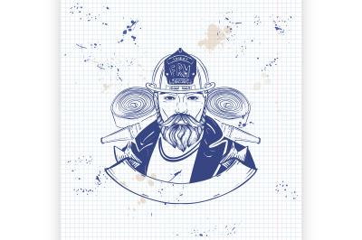 Hand drawn sketch fireman icon3