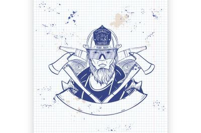 Hand drawn sketch fireman icon6