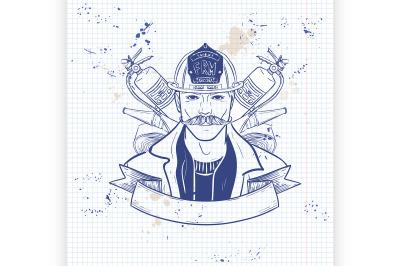 Hand drawn sketch fireman icon10