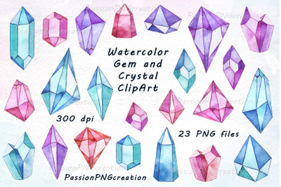 Watercolor Gems and Crystals Clipart