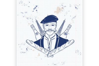 Hand drawn sketch french man3