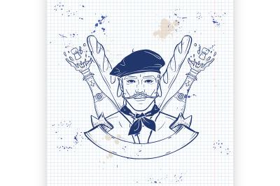 Hand drawn sketch french man4