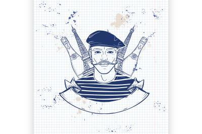 Hand drawn sketch french man5