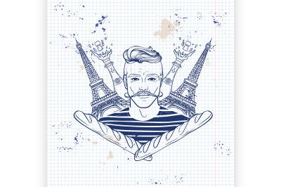 Hand drawn sketch french man7