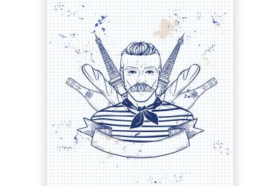 Hand drawn sketch french man8