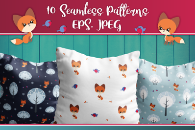 Cute fox. Seamless patterns