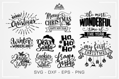 Christmas Quote Packs Svg Design