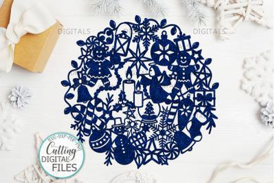 Assorted Christmas Ball svg paper cut laser cut template