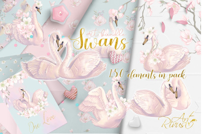Swans clipart bundle. Wedding and baby shower graphic pack.