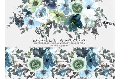 Icy Blue Watercolor Floral Clipart Collection