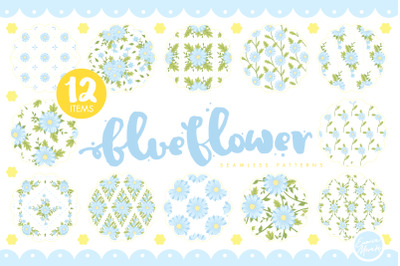 Blue Daisy Flower Seamless Patterns