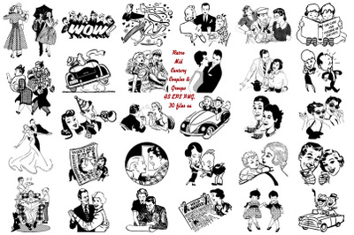 Retro Mid Century Couples and Groups AI EPS PNG