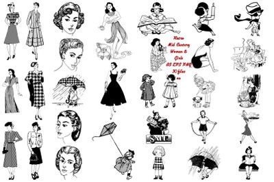 Retro Mid Century Women and Girls AI EPS PNG