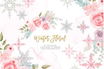 Pink Silver Glitter Winter Wreaths Clipart, Winter clipart