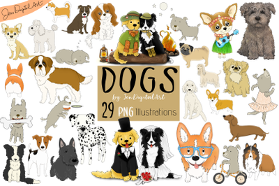 DOGS - BIG GRAPHICS SET | 29 PNG Images