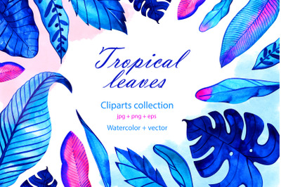 Watercolor neon tropical leaves