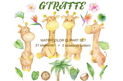 Giraffes watercolor clipart. 2 seamless pattern. Cute tropical giraffe
