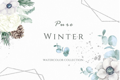 Pure winter. Watercolor collection