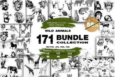 BUNDLE WILD ANIMALS VECTOR