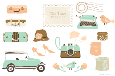 Vintage Style Clipart Set Graphics - Camera Suitcase Stamp Travel Typewriter Car