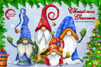Christmas Gnomes Clipart, Nordic Scandinavian Gnome AMB-2675