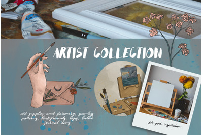 Artist collection. Art supplies