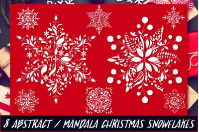 Christmas Mandala Snowflakes SVG Set