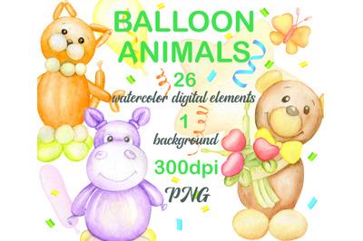 Watercolor balloon clipart. Inflatable air animals, giraffe. bear, don