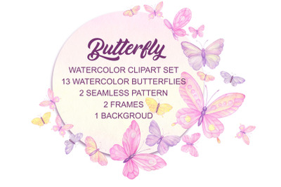 Butterflies Watercolor. Invitation, wedding, greetings, digital butter