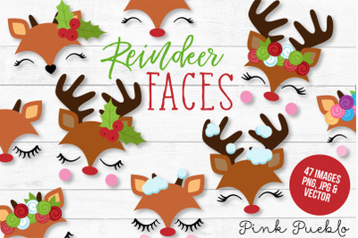 Reindeer Face Clipart and Vectors