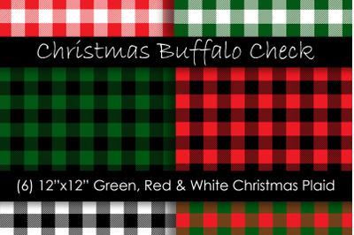 Christmas Plaid Digital Papers - Christmas Buffalo Check