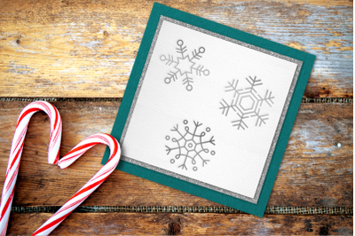 Snowflake Trio Single Line Sketch for Pens   SVG   PNG   DXF