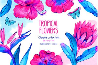 Watercolor neon tropical flowers