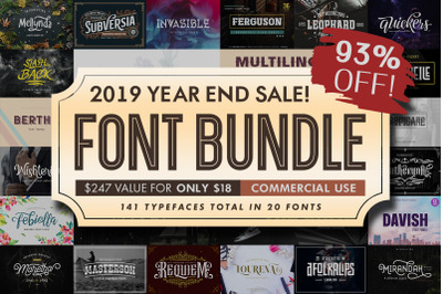Font Bundle 2019 - Year End Sale! 93% OFF
