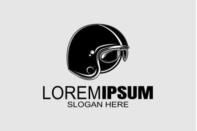Biker's helmet vector logo design template.