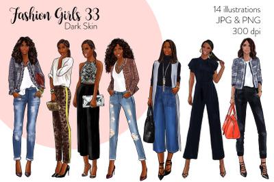 Watercolor Fashion Clipart - Fashion Girls 33 - Dark Skin