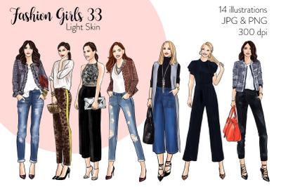 Watercolor Fashion Clipart - Fashion Girls 33 - Light Skin