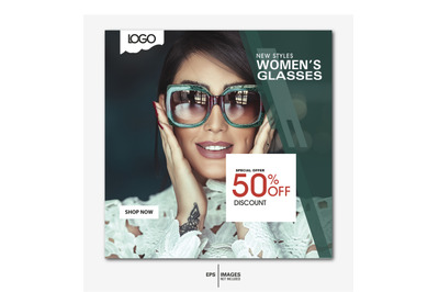 Women's Glasses Sale social media & web  banner template