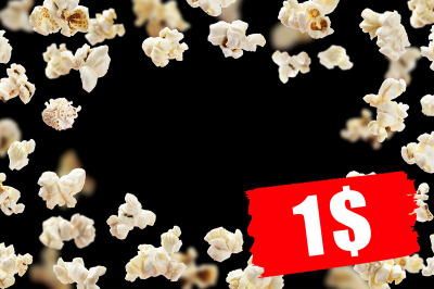 Popcorn frame, flying popcorn isolated on black background