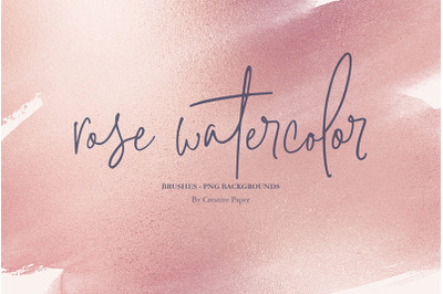 Valentine's Day Rose Gold Watercolor (PNG) + Brush